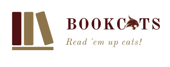 Book Cats logo and slogan Read 'em up cats!