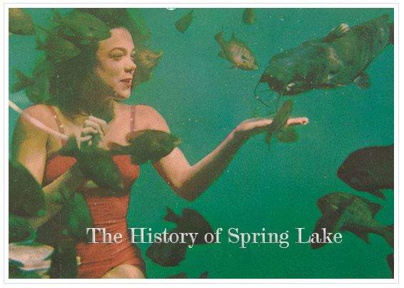 Color postcard showing underwater Aquamaid feeding fish in Spring Lake