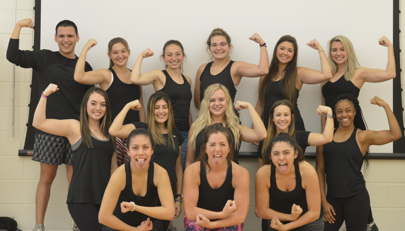 Group Exercise Instructors Flexing