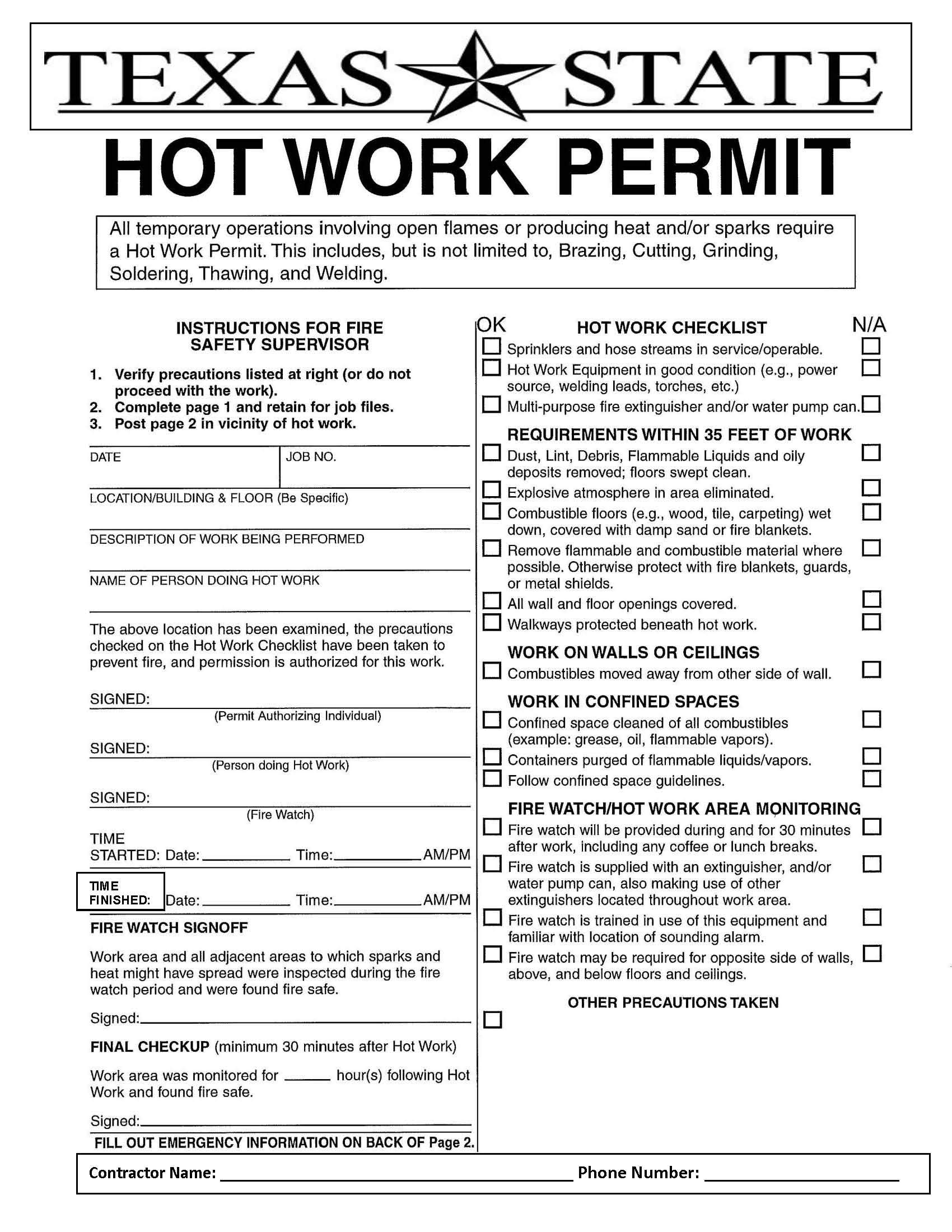 Hot Work Permits Environmental Health Safety Amp Risk