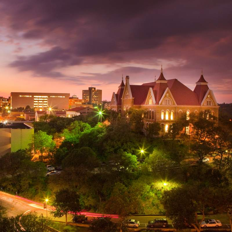 Texas State buildings at night