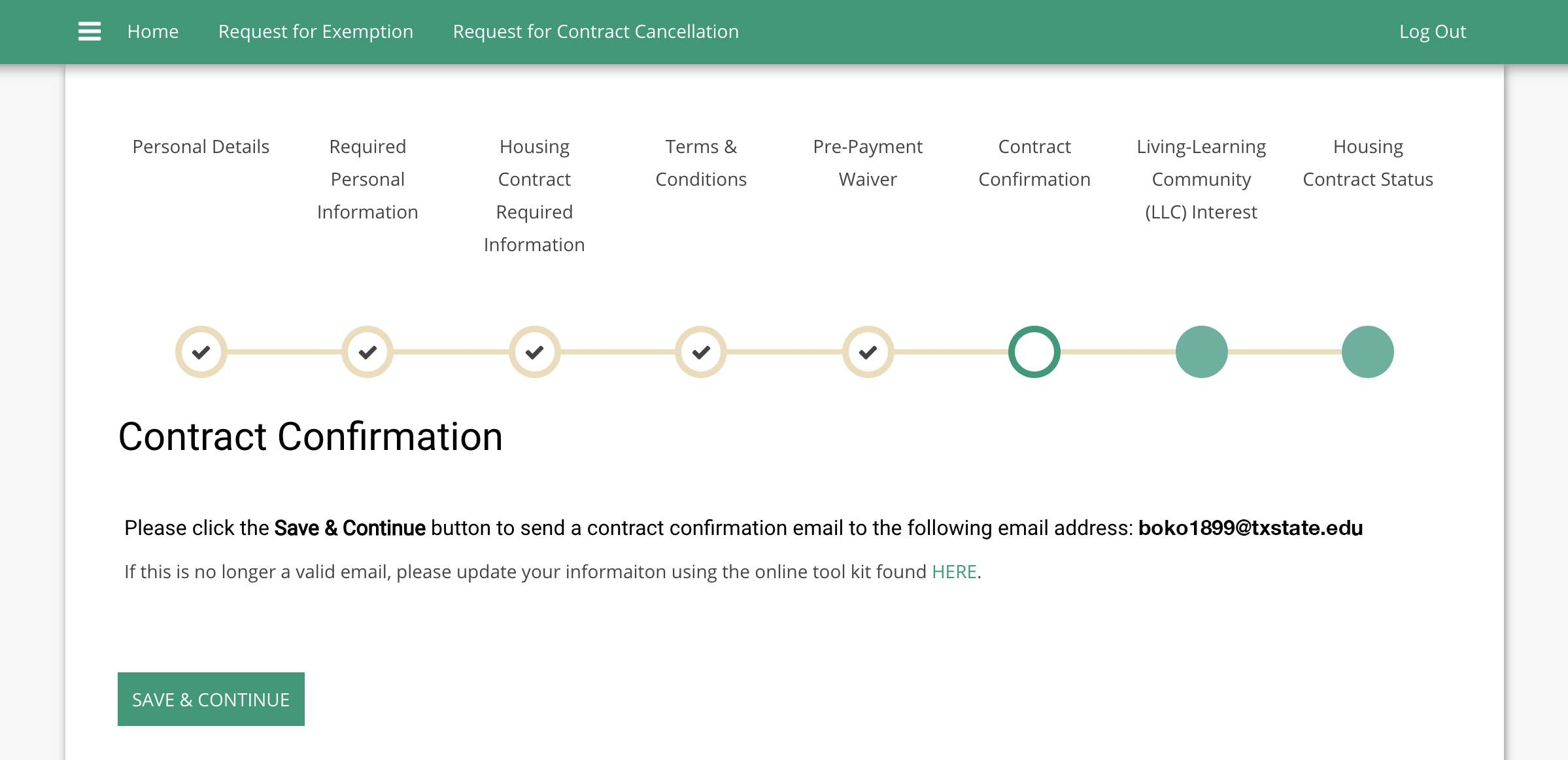 Screenshot of the Contract Confirmation page in the StarRez Housing Portal