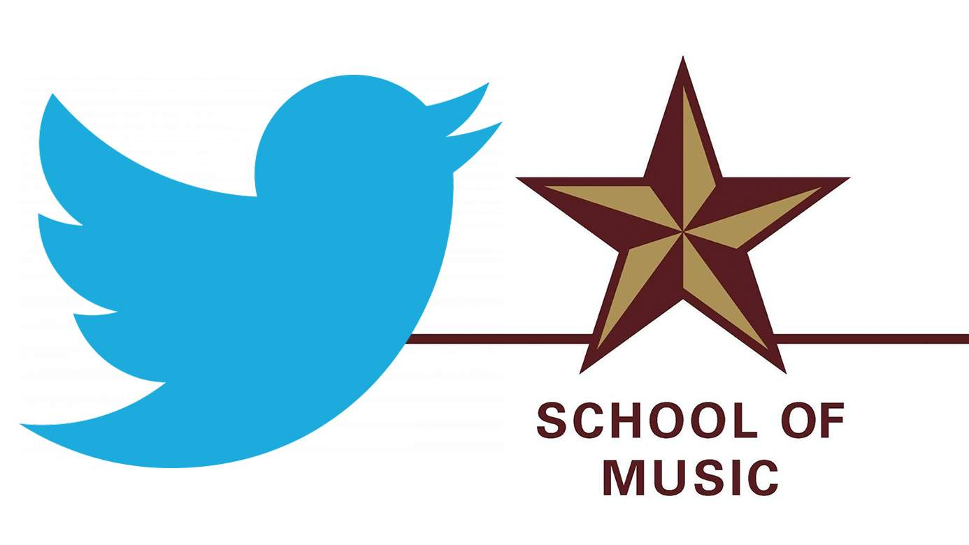 The Twitter logo and the School of Music Star