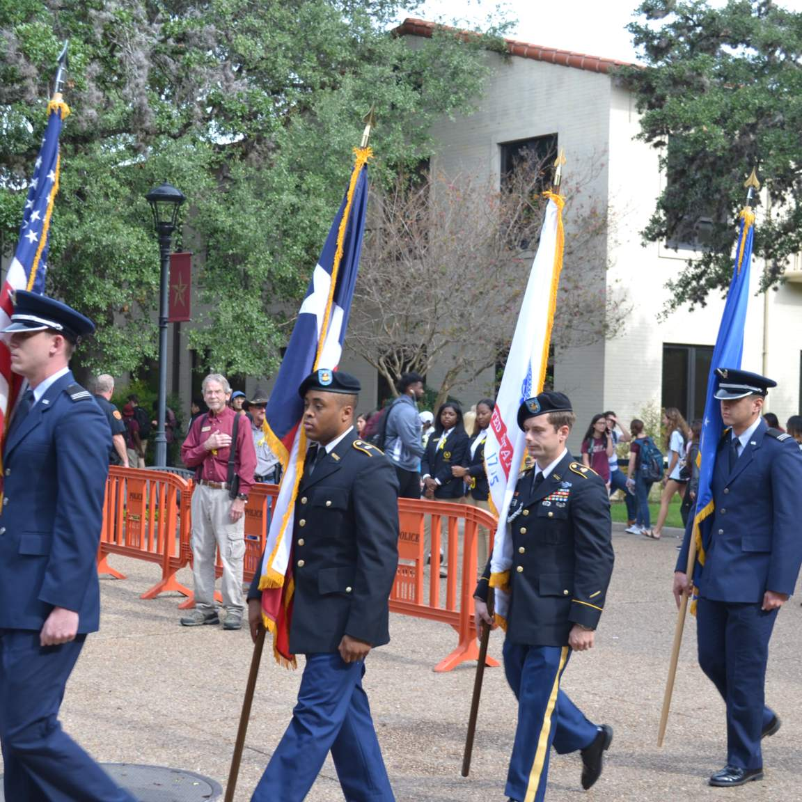 Texas State ROTC posting the colors