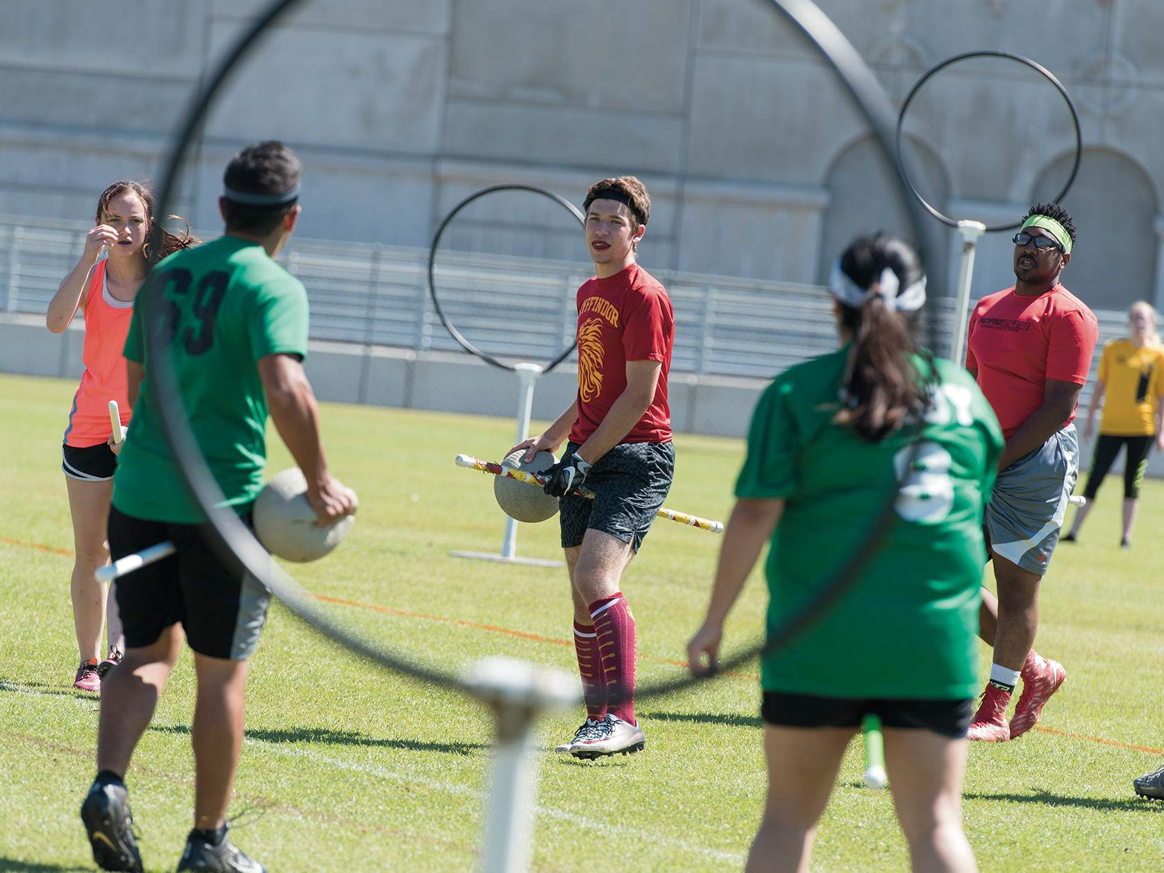 Bobcats playing Quidditch