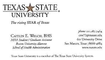 Student business cards school of health administration texas buscard preview fbccfo Gallery