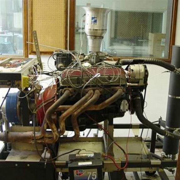 Image, side view of V-8 engine on dynamometer.