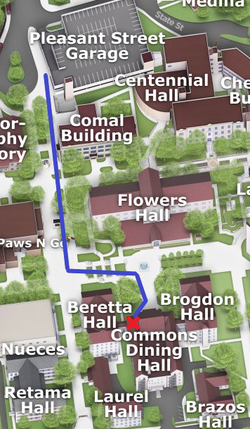 Map from Pleasant Street Garage to Commons Dining Hall