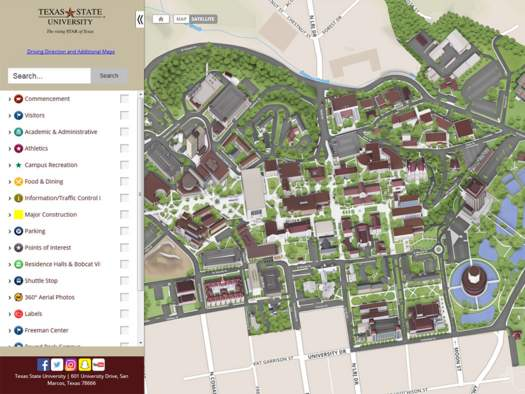 San Marcos Campus Map.Visit Campus Office Of Undergraduate Admissions Texas State