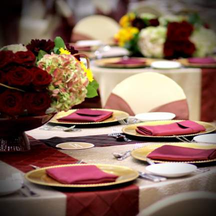 plates and napkins on table