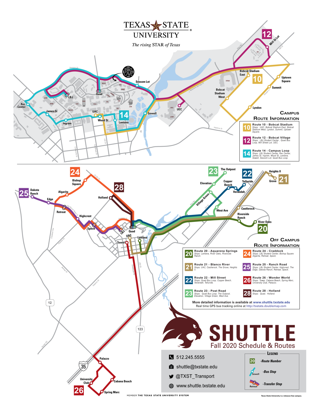 map of all weekday Bobcat Shuttle routes
