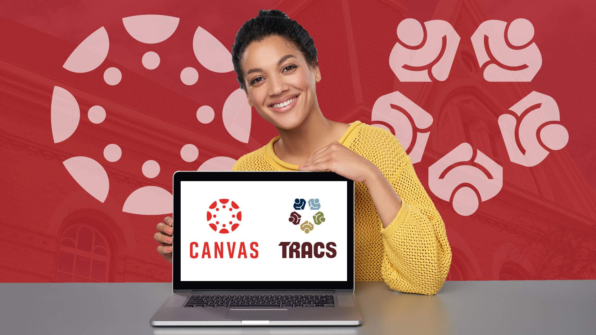 A student smiles and has a laptop with the TRACS and Canvas logos.