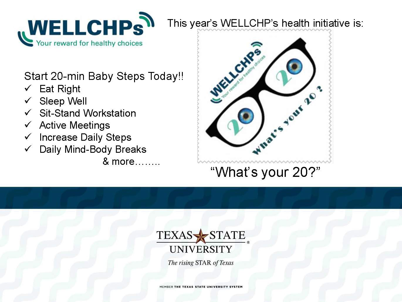 WELLCHPS Event-What's your 20?