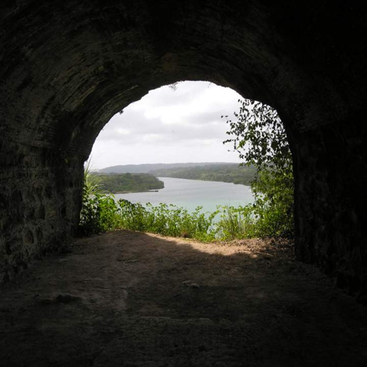 The mouth of the Chagres River, as seen from inside the ruins of Fort San Lorenzo. (Photo by James Delgado)
