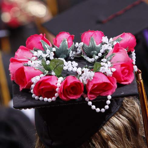 cap with roses and pearls