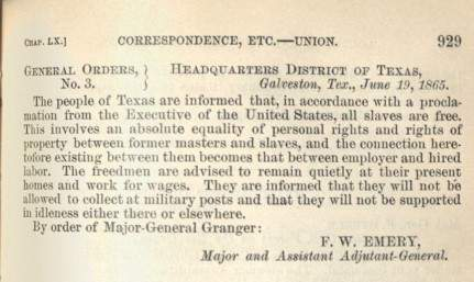 historical document on Juneteenth