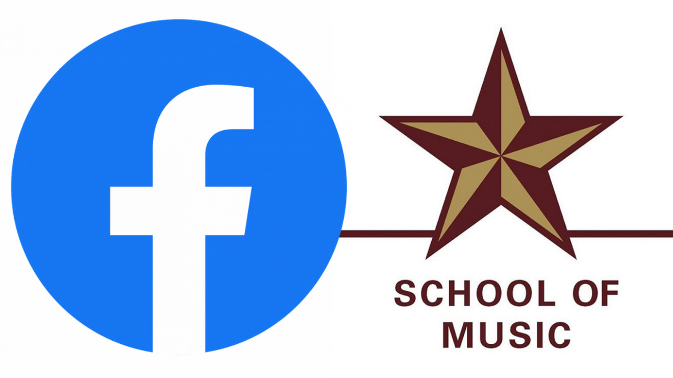 The Facebook logo and the School of Music star.