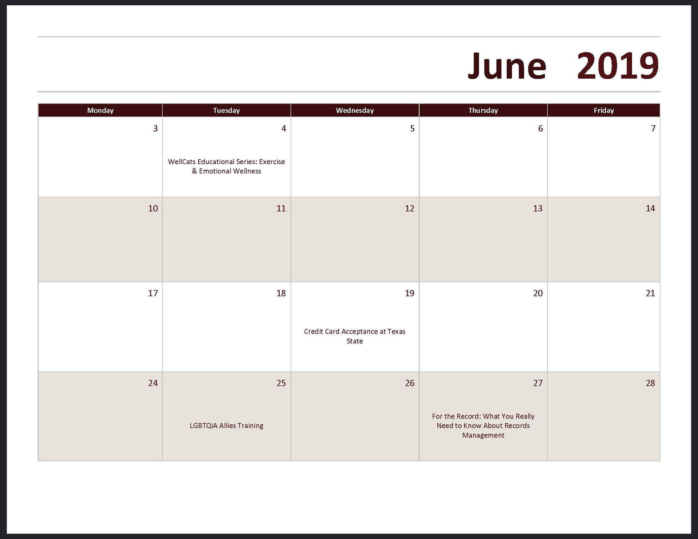 Texas State 2019 Calendar Course Calendars : Office of Human Resources : Texas State University