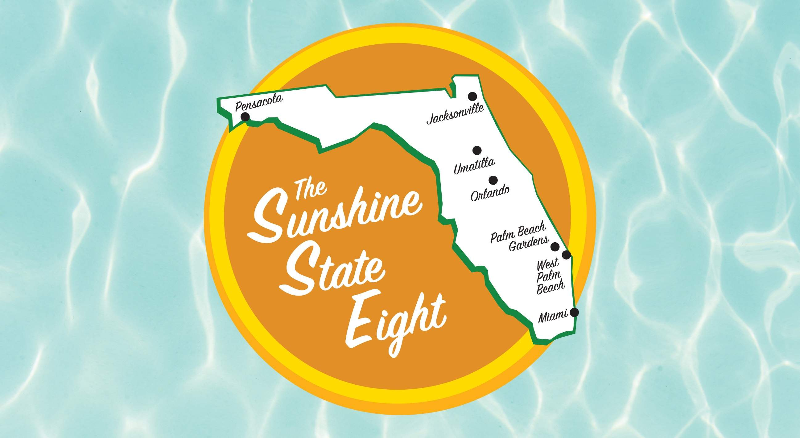 graphic of state of florida with 7 locations pinpointed
