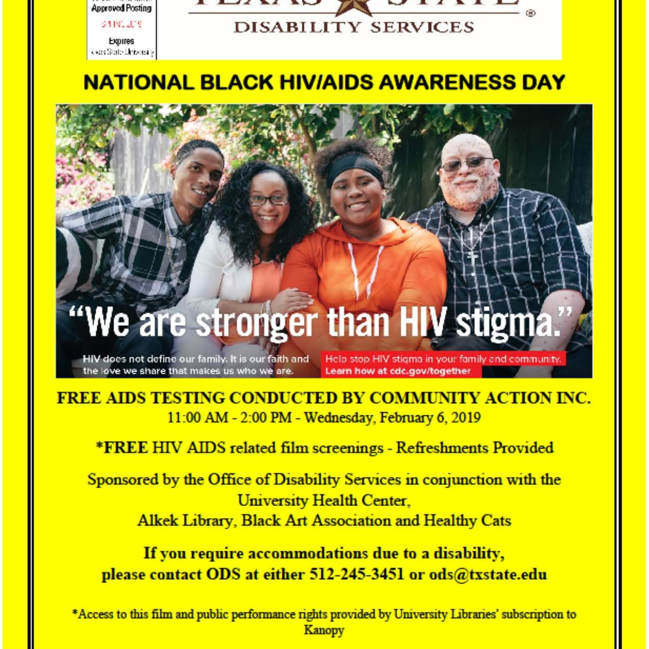 Office of Disability Services' National Black HIV/AIDS Awareness Day Flyer